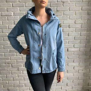 Jackets & Blazers - Denim Chore Style Coat Jacket Badge Sz Medium